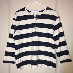 Tops - Stripes cotton long sleeve shirt